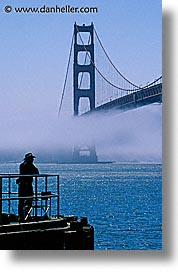 bridge, california, golden gate, golden gate bridge, men, national landmarks, san francisco, silhouettes, vertical, west coast, western usa, photograph