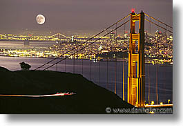 bridge, california, golden gate, golden gate bridge, horizontal, moon, national landmarks, san francisco, west coast, western usa, photograph