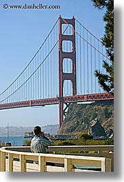 bridge, california, cell phone, golden gate, golden gate bridge, men, national landmarks, san francisco, vertical, west coast, western usa, photograph