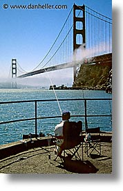bridge, california, fishermen, golden gate, golden gate bridge, national landmarks, san francisco, seated, vertical, west coast, western usa, photograph