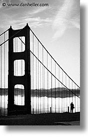 black and white, bridge, california, golden gate, golden gate bridge, national landmarks, san francisco, silhouettes, vertical, west coast, western usa, photograph