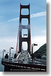 bridge, california, golden gate, golden gate bridge, national landmarks, san francisco, traffic, vertical, west coast, western usa, photograph