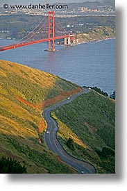bridge, california, golden gate, golden gate bridge, national landmarks, roads, san francisco, vertical, west coast, western usa, windy, photograph