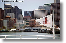 bridge, california, ferry, flags, gates, golden, golden gate, horizontal, national landmarks, san francisco, west coast, western usa, photograph