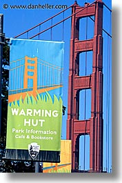 bridge, california, golden gate, golden gate bridge, huts, national landmarks, san francisco, signs, vertical, warming, west coast, western usa, photograph