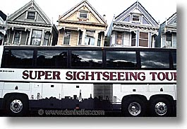 bus, california, homes, horizontal, san francisco, sisters, victorians, west coast, western usa, photograph