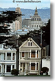 california, city hall, homes, san francisco, sisters, vertical, victorians, west coast, western usa, photograph