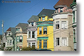 california, colored, homes, horizontal, houses, san francisco, west coast, western usa, wires, photograph