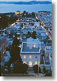 california, homes, houses, illuminated, san francisco, vertical, west coast, western usa, photograph