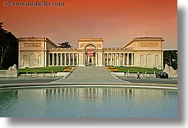 california, horizontal, legion of honor, museums, pond, san francisco, sunsets, west coast, western usa, photograph