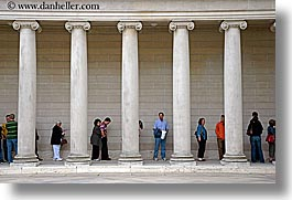 california, horizontal, legion of honor, lines, museums, people, pillars, san francisco, west coast, western usa, photograph