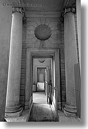 black and white, california, legion of honor, museums, pillars, san francisco, vertical, west coast, western usa, photograph