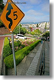 california, lombard street, mph, san francisco, signs, vertical, west coast, western usa, photograph