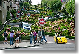 california, horizontal, lombard, lombard street, san francisco, streets, tourists, west coast, western usa, photograph
