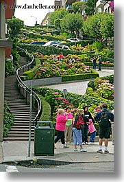 california, lombard, lombard street, san francisco, streets, tourists, vertical, west coast, western usa, photograph
