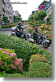 california, lombard, lombard street, motorcycles, police, san francisco, streets, vertical, west coast, western usa, photograph