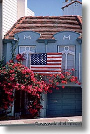 california, flags, garage, san francisco, vertical, west coast, western usa, photograph
