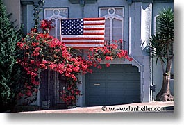 california, flags, garage, horizontal, san francisco, west coast, western usa, photograph