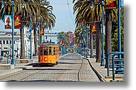 california, embarcadero, horizontal, san francisco, tram, west coast, western usa, photograph