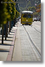 california, embarcadero, san francisco, tram, vertical, west coast, western usa, photograph
