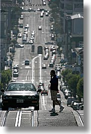 busy, california, cars, pedestrians, people, san francisco, streets, traffic, vertical, walking, west coast, western usa, photograph