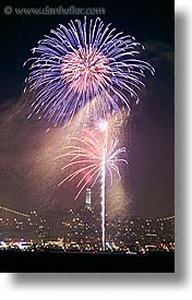 california, coit, fireworks, long exposure, nite, san francisco, towers, vertical, west coast, western usa, photograph