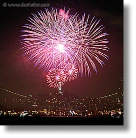 california, coit, fireworks, long exposure, nite, san francisco, square format, towers, west coast, western usa, photograph