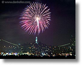 california, coit, fireworks, horizontal, long exposure, nite, san francisco, towers, west coast, western usa, photograph