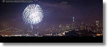 california, downtown, fireworks, horizontal, long exposure, nite, panoramic, san francisco, west coast, western usa, photograph