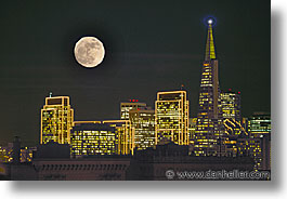 california, cities, horizontal, moon, nite, san francisco, west coast, western usa, photograph