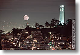 california, coit, horizontal, moon, nite, san francisco, towers, west coast, western usa, photograph