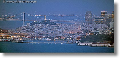 california, coit, downtown, horizontal, nite, panoramic, san francisco, slow exposure, west coast, western usa, photograph