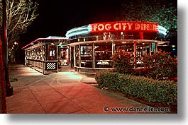 california, cities, diners, fog, horizontal, nite, san francisco, west coast, western usa, photograph
