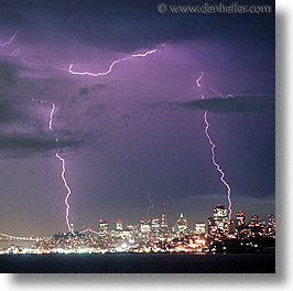 california, lightning, nite, san francisco, square format, squares, west coast, western usa, photograph