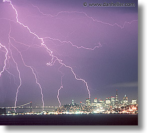 california, horizontal, lightning, nite, san francisco, west coast, western usa, photograph