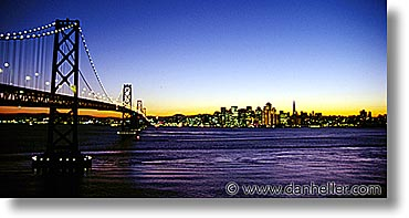 california, horizontal, nite, san francisco, sfbaybridge, west coast, western usa, photograph