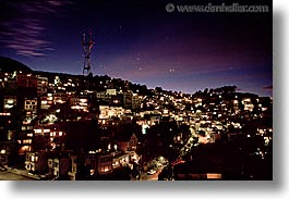 california, horizontal, nite, peaks, san francisco, twins, west coast, western usa, photograph