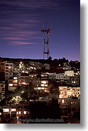 california, nite, peaks, san francisco, towers, twins, vertical, west coast, western usa, photograph