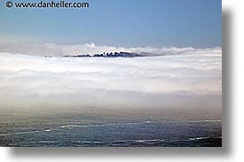 bay, california, fog, horizontal, ocean, san francisco, treespit, west coast, western usa, photograph