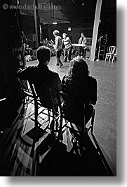 back stage, behind, black and white, california, from, peek, people, san francisco, vertical, west coast, western usa, photograph