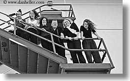 black and white, california, groups, horizontal, outside, people, san francisco, stairs, west coast, western usa, photograph