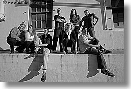 black and white, buildings, california, groups, horizontal, outside, people, players, san francisco, west coast, western usa, photograph