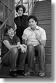barbara, black and white, california, corey, groups, jenny, people, san francisco, threes, vertical, west coast, western usa, photograph