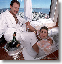 bathtub, bubbles, california, people, san francisco, square format, tub, west coast, western usa, photograph