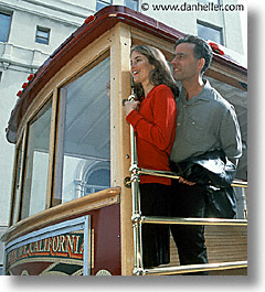 cable, cable car, california, couples, happy, men, people, san francisco, vertical, west coast, western usa, womens, photograph