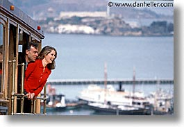cable car, california, couples, happy, horizontal, men, people, san francisco, west coast, western usa, womens, photograph