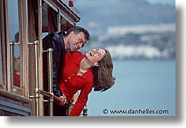 cable car, california, couples, fun, happy, horizontal, men, people, san francisco, west coast, western usa, womens, photograph
