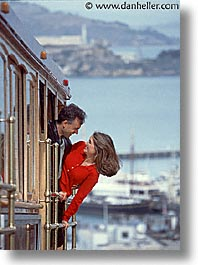 cable car, california, couples, fun, happy, men, people, san francisco, vertical, west coast, western usa, womens, photograph