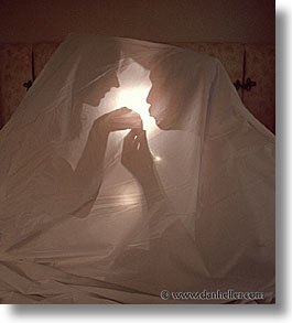 california, hotel camping, people, san francisco, sheets, silhouettes, vertical, west coast, western usa, photograph