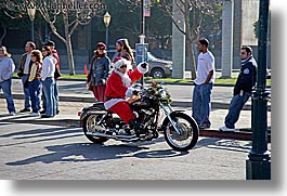 bikers, california, golden gate bridge, horizontal, men, people, san francisco, santa, west coast, western usa, photograph
